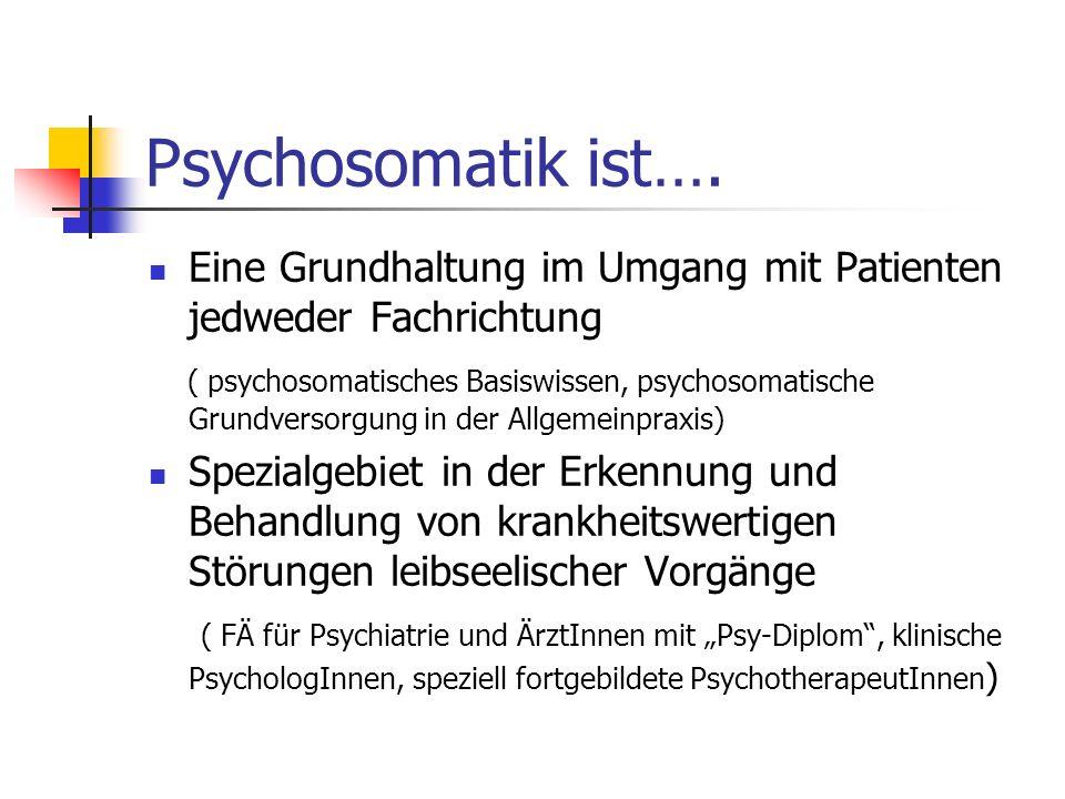 Psychosomatik ist…. Eine Grundhaltung im Umgang mit Patienten jedweder Fachrichtung.