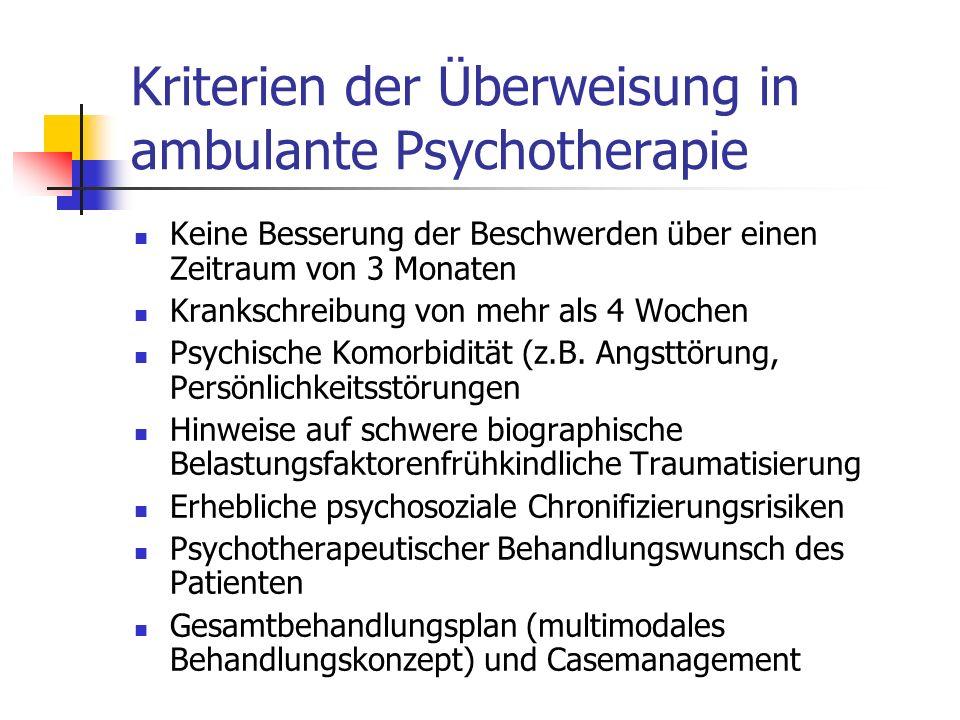 Kriterien der Überweisung in ambulante Psychotherapie