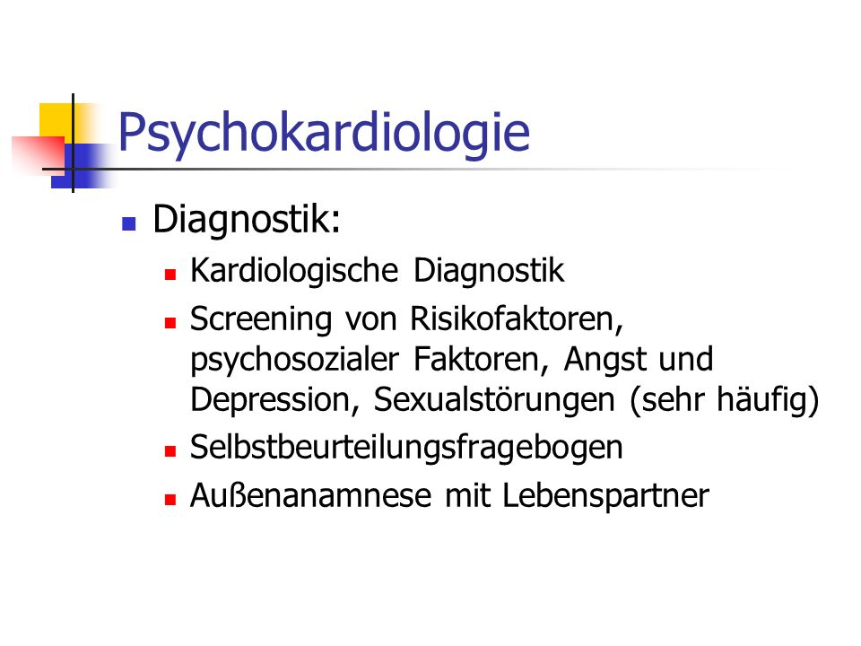 Psychokardiologie Diagnostik: Kardiologische Diagnostik