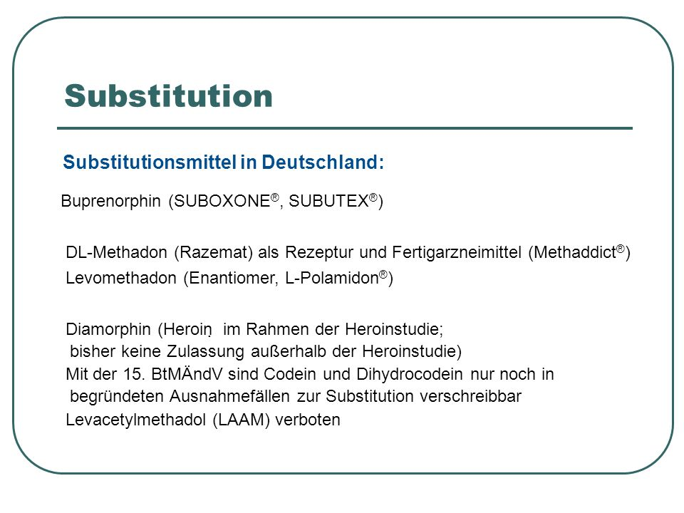 Substitution Substitutionsmittel in Deutschland: