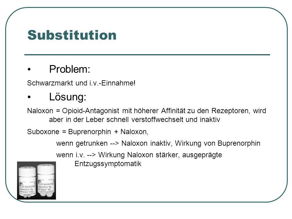 Substitution Problem: Lösung: Schwarzmarkt und i.v.-Einnahme!