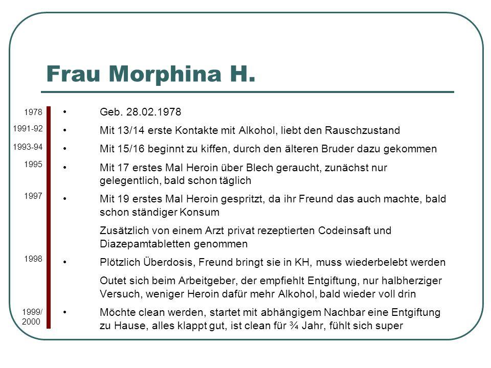 Frau Morphina H. 1978. Geb. 28.02.1978. Mit 13/14 erste Kontakte mit Alkohol, liebt den Rauschzustand.