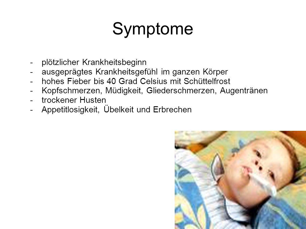 Symptome - plötzlicher Krankheitsbeginn