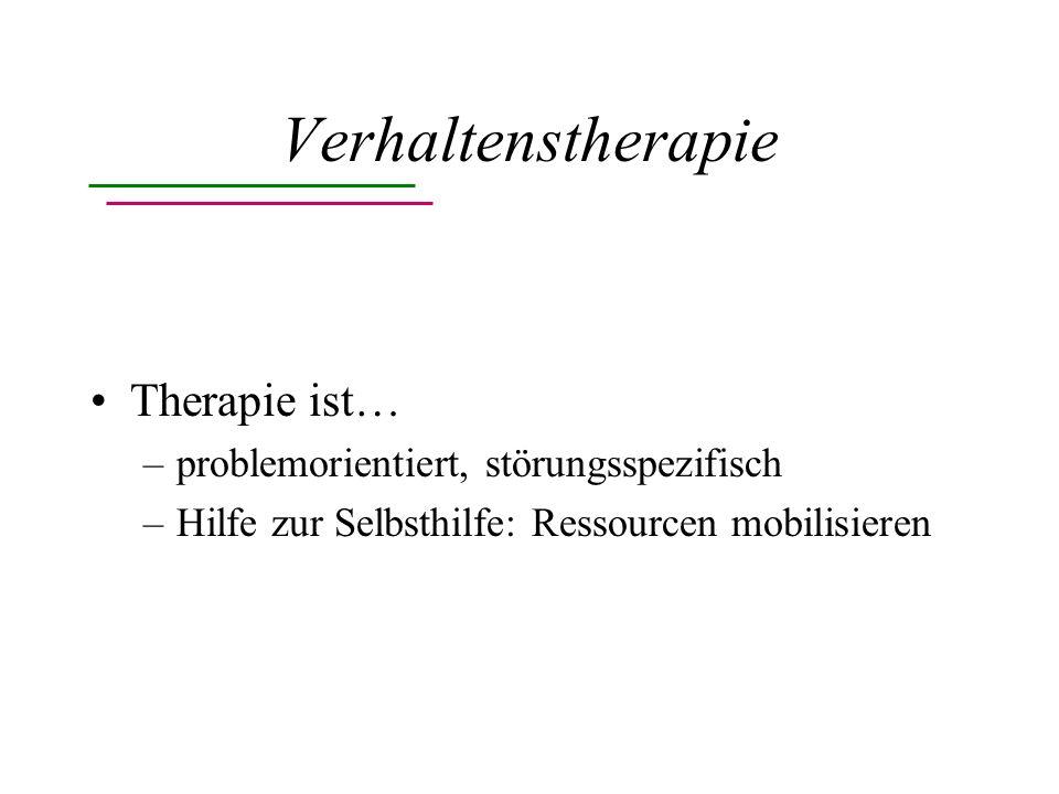 Verhaltenstherapie Therapie ist… problemorientiert, störungsspezifisch