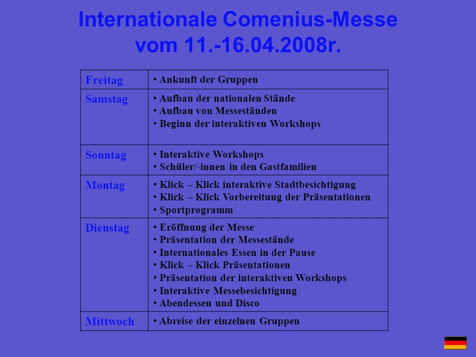 Internationale Comenius-Messe vom 11.-16.04.2008r.