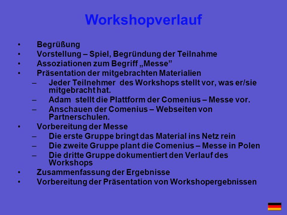Workshopverlauf Begrüßung