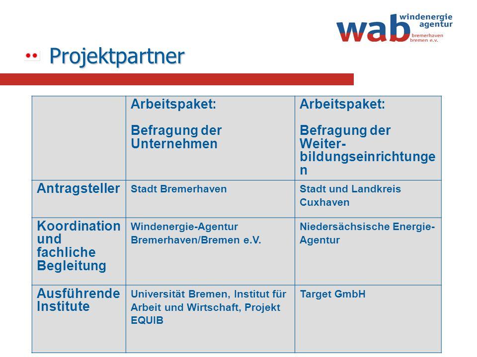 Projektpartner Arbeitspaket: Befragung der Unternehmen