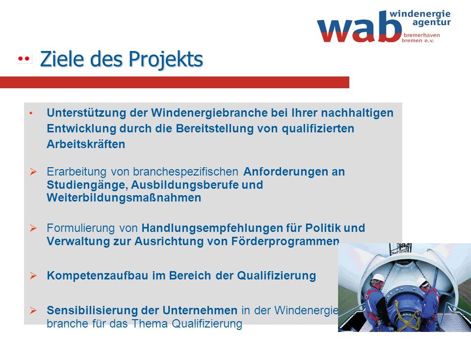 Ziele des Projekts Unterstützung der Windenergiebranche bei Ihrer nachhaltigen Entwicklung durch die Bereitstellung von qualifizierten Arbeitskräften.