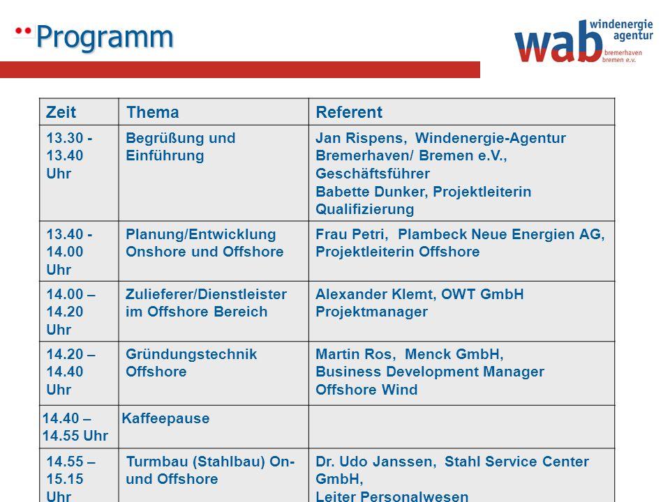 Programm Zeit Thema Referent 13.30 -13.40 Uhr Begrüßung und Einführung