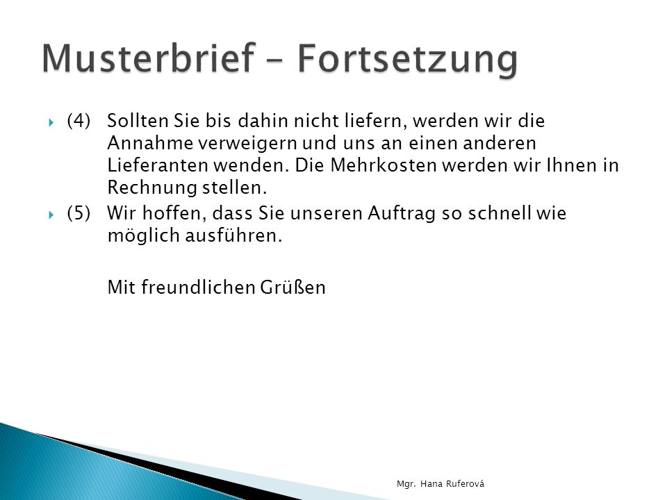 Musterbrief – Fortsetzung