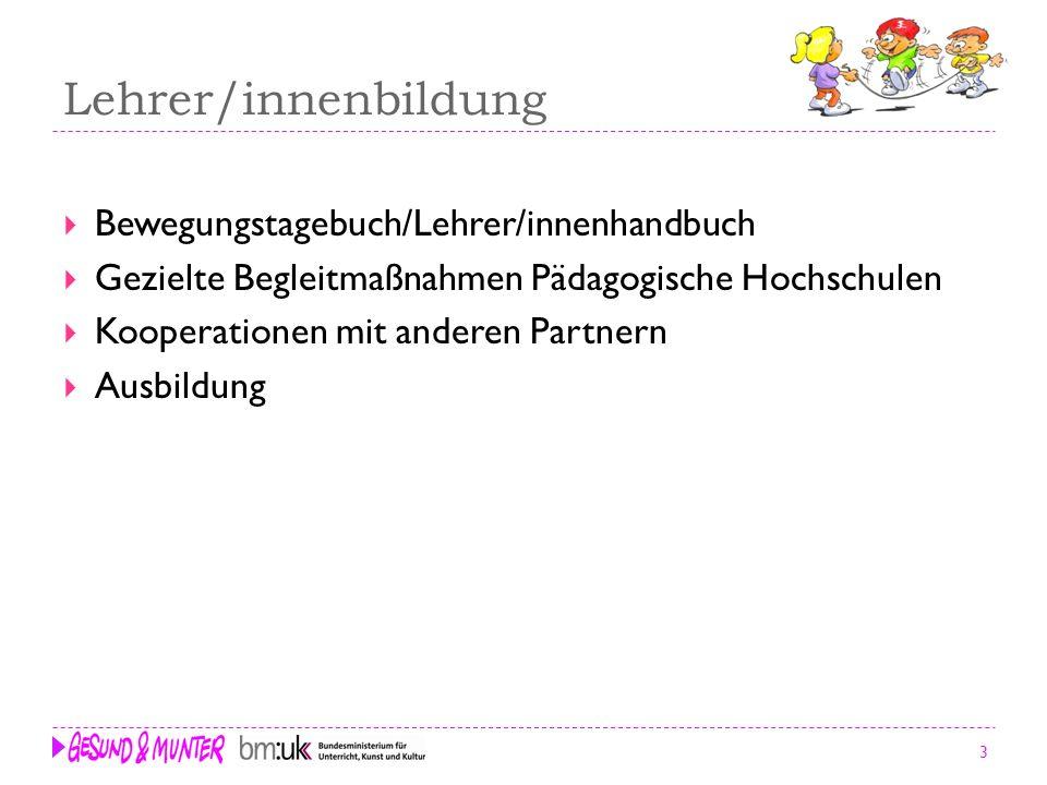 Lehrer/innenbildung Bewegungstagebuch/Lehrer/innenhandbuch