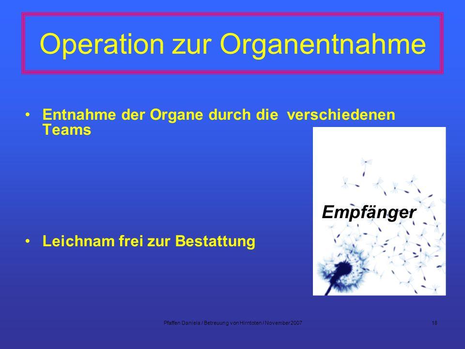 Operation zur Organentnahme