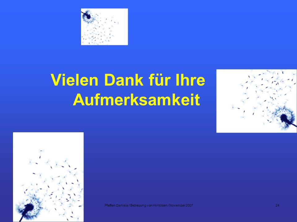 Pfaffen Daniela / Betreuung von Hirntoten / November 2007