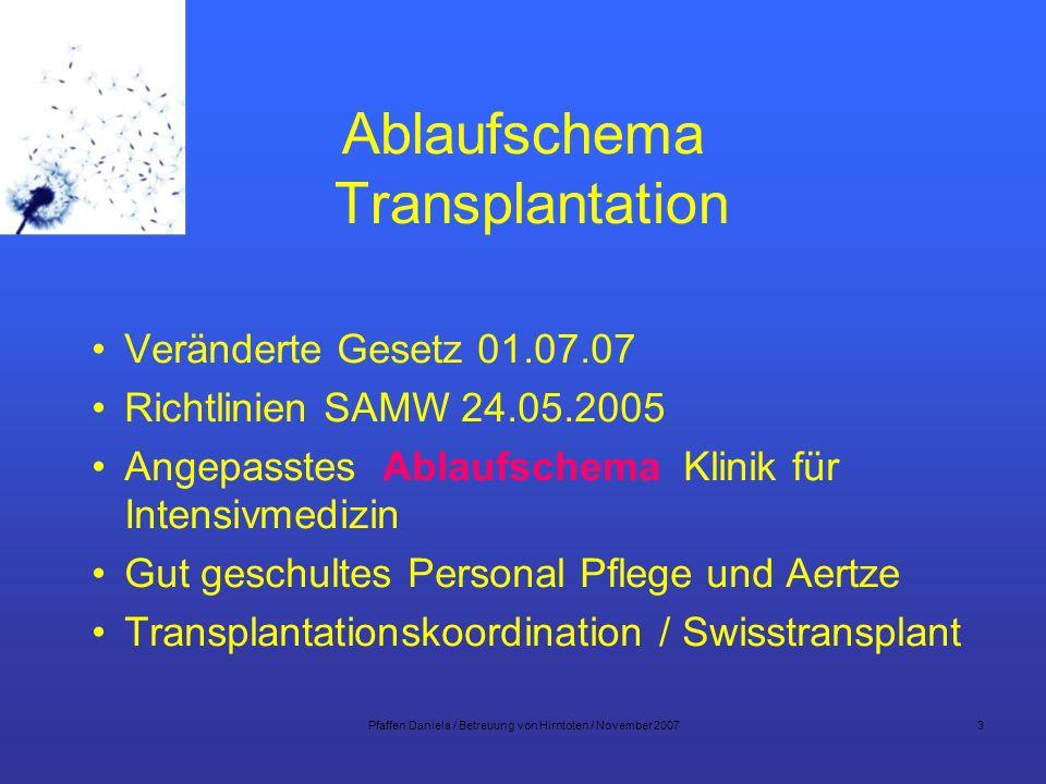 Ablaufschema Transplantation