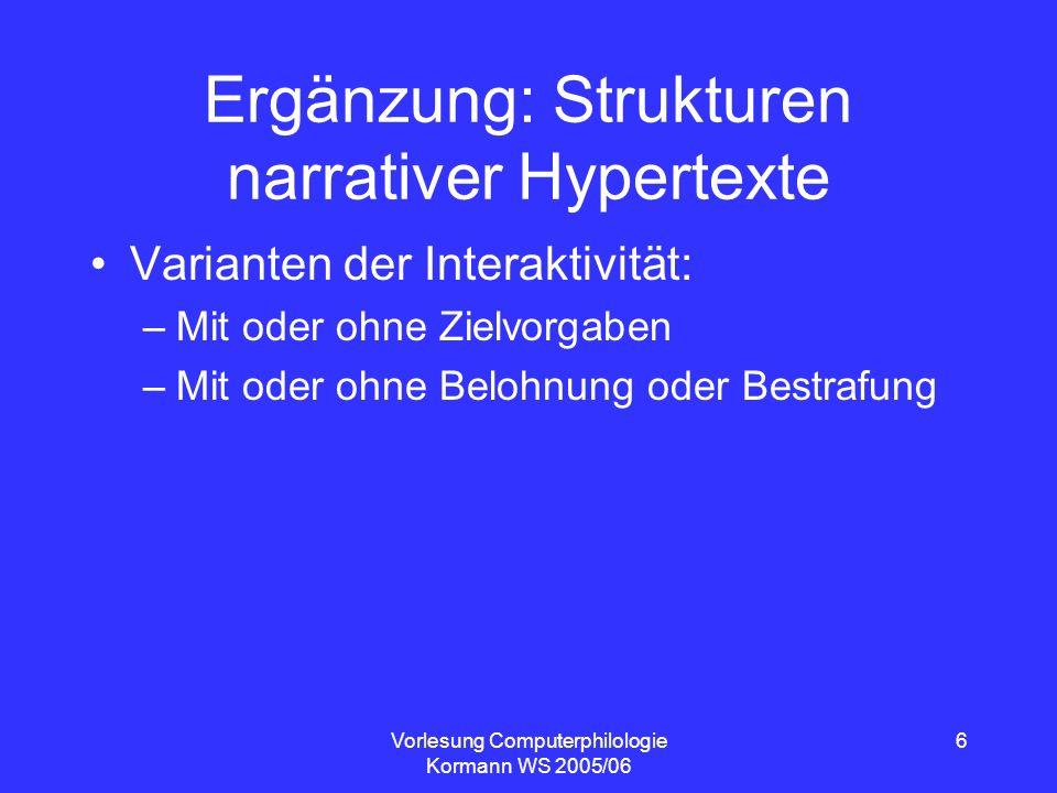 Ergänzung: Strukturen narrativer Hypertexte