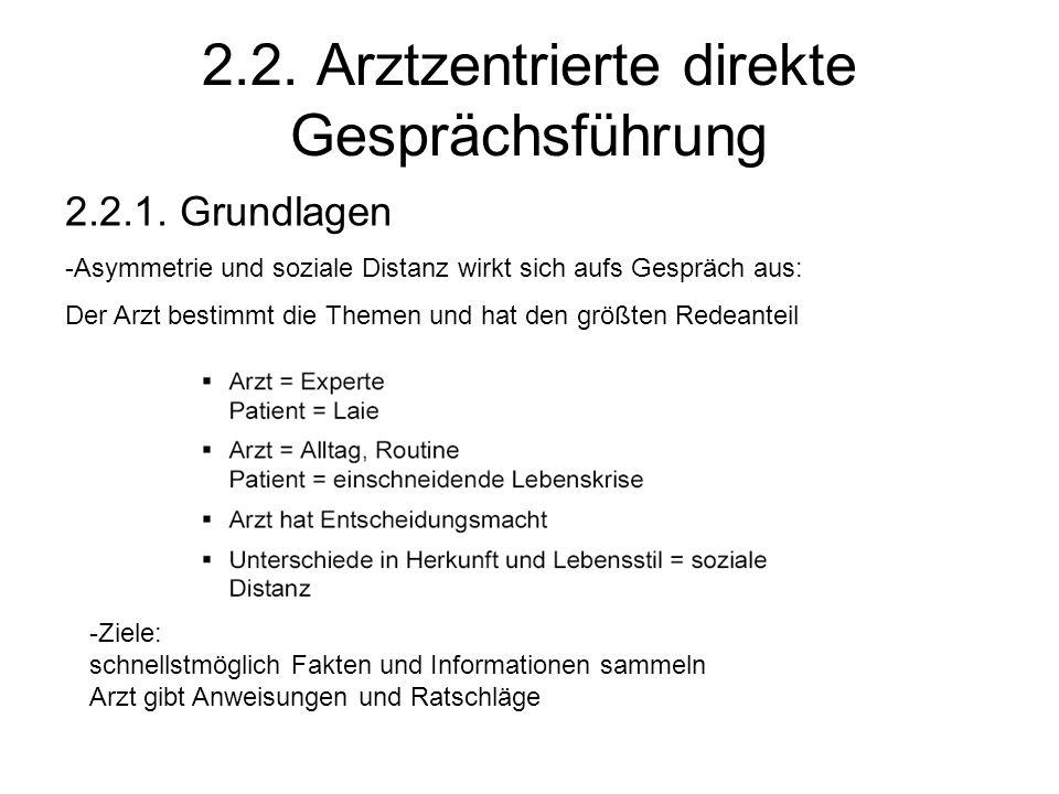 2.2. Arztzentrierte direkte Gesprächsführung