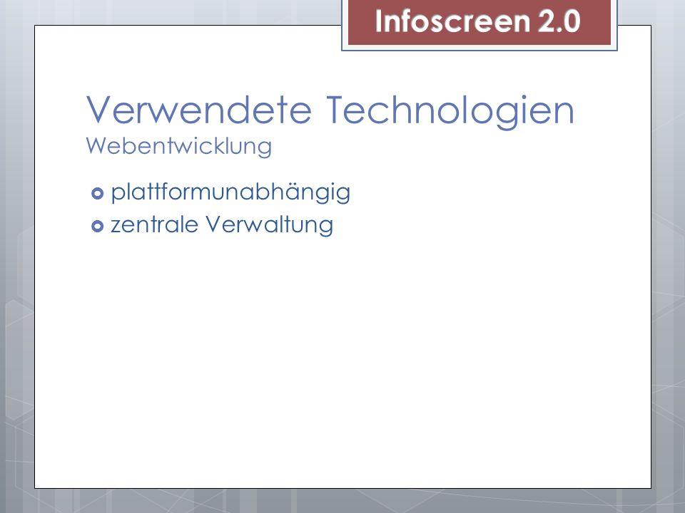 Verwendete Technologien Webentwicklung