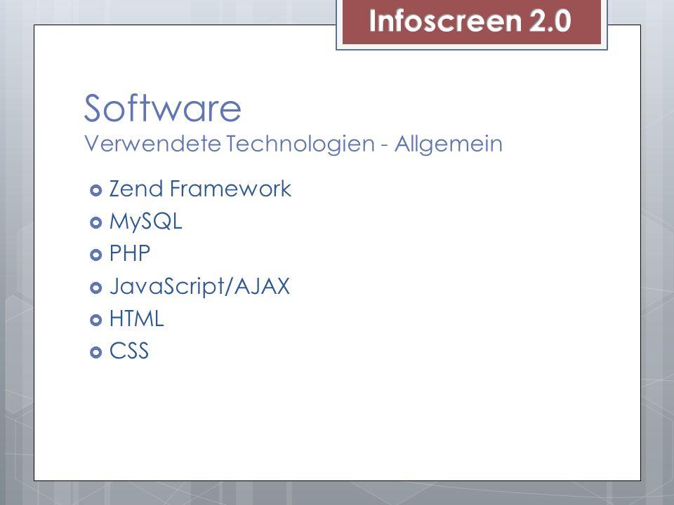 Software Verwendete Technologien - Allgemein