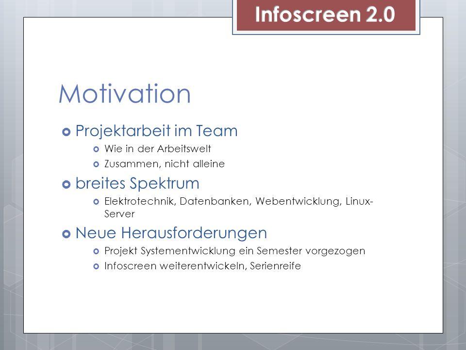 Motivation Infoscreen 2.0 Projektarbeit im Team breites Spektrum