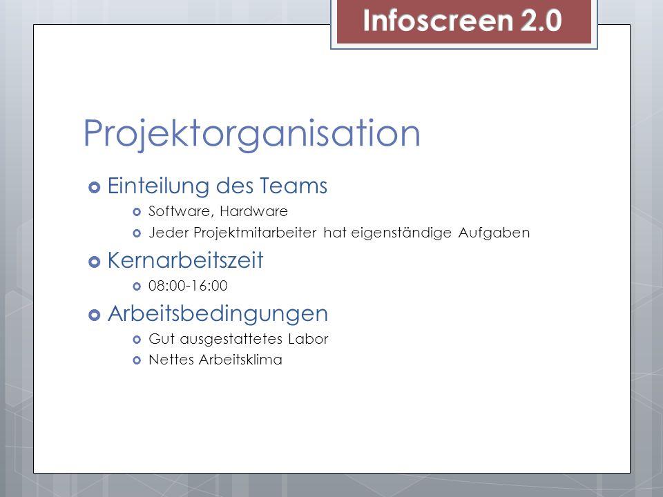 Projektorganisation Infoscreen 2.0 Einteilung des Teams