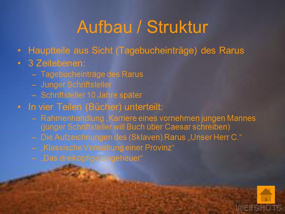 Aufbau / Struktur Hauptteile aus Sicht (Tagebucheinträge) des Rarus
