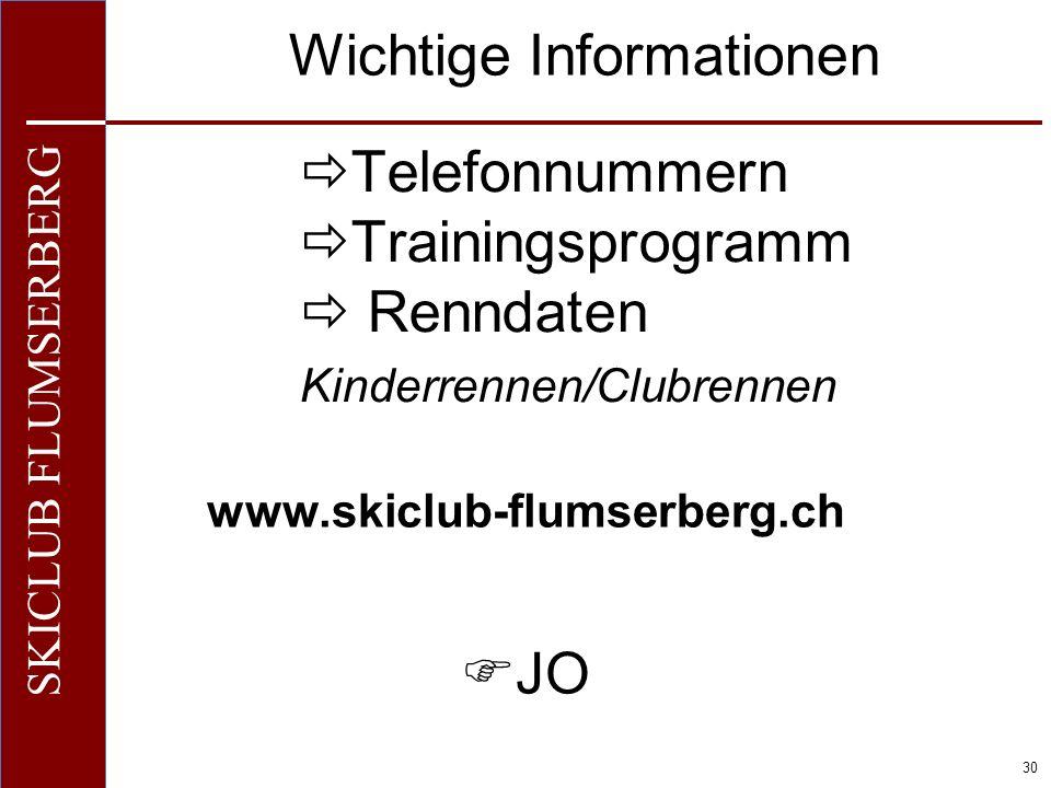 Telefonnummern Trainingsprogramm  Renndaten Kinderrennen/Clubrennen