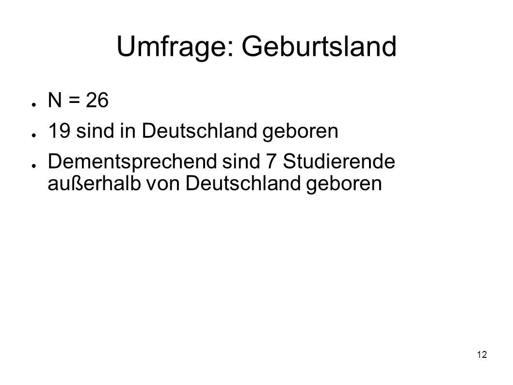 Umfrage: Geburtsland N = 26 19 sind in Deutschland geboren