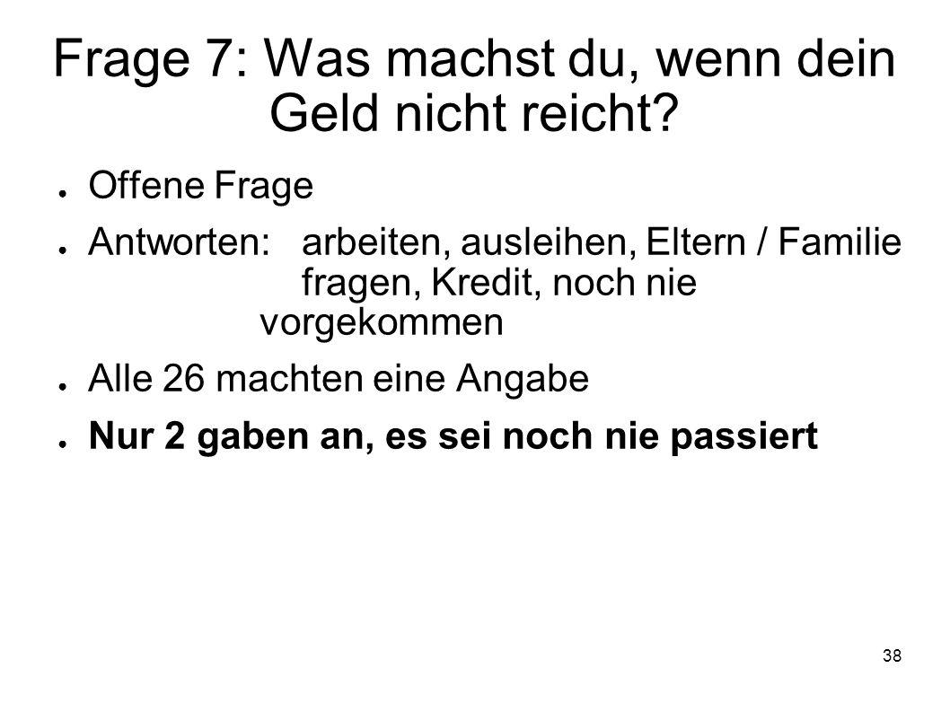 Frage 7: Was machst du, wenn dein Geld nicht reicht