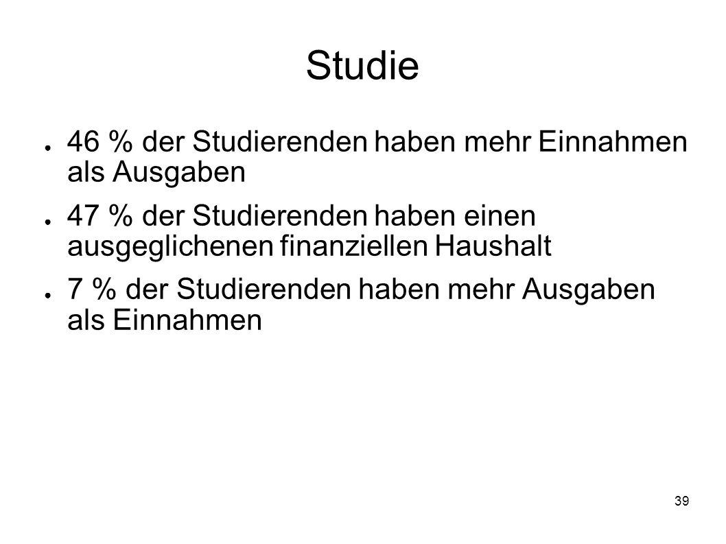 Studie 46 % der Studierenden haben mehr Einnahmen als Ausgaben