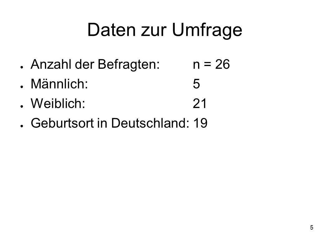 Daten zur Umfrage Anzahl der Befragten: n = 26 Männlich: 5