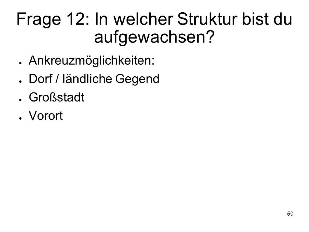 Frage 12: In welcher Struktur bist du aufgewachsen
