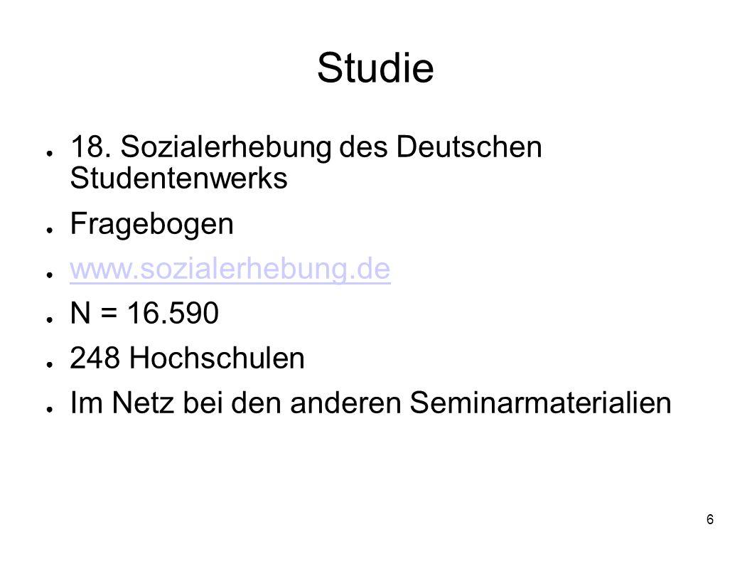 Studie 18. Sozialerhebung des Deutschen Studentenwerks Fragebogen