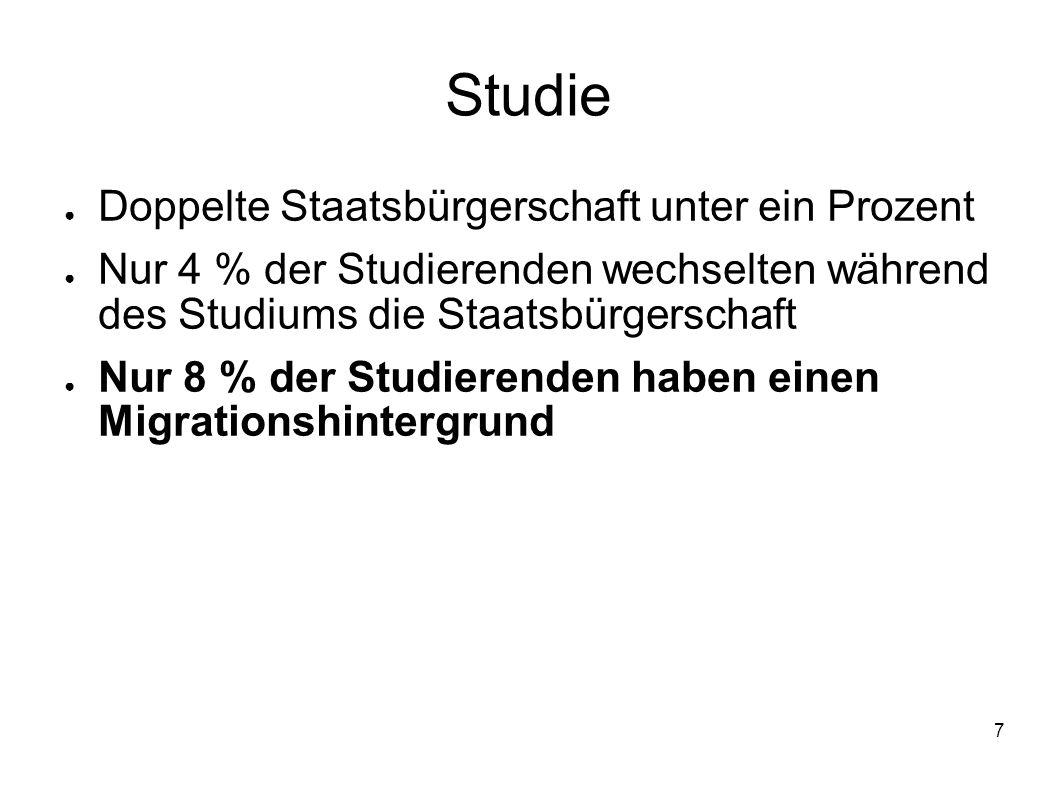 Studie Doppelte Staatsbürgerschaft unter ein Prozent