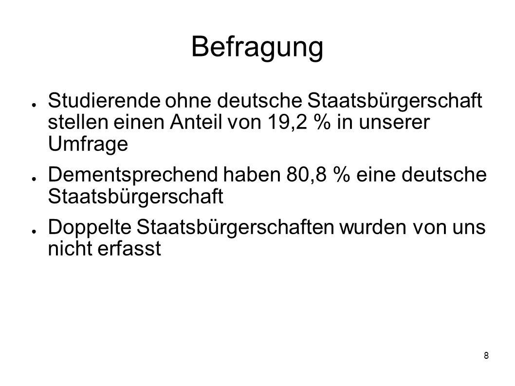 Befragung Studierende ohne deutsche Staatsbürgerschaft stellen einen Anteil von 19,2 % in unserer Umfrage.