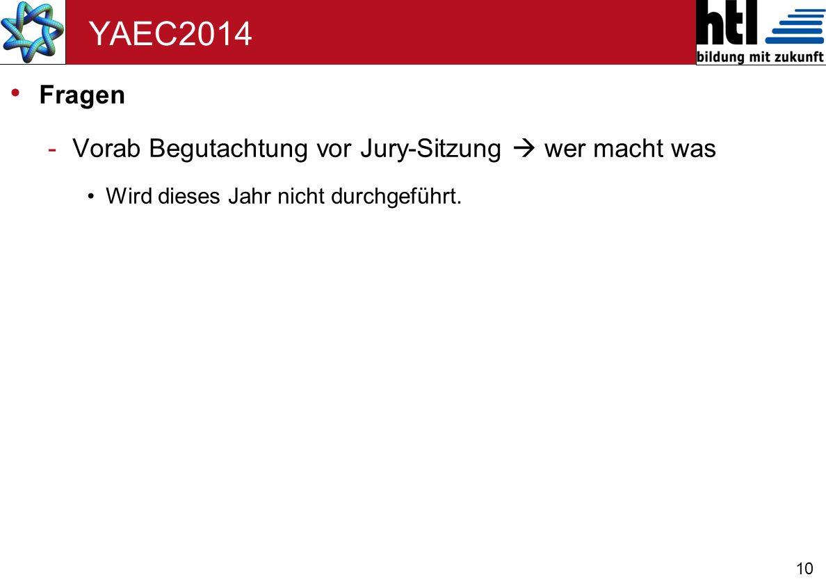 YAEC2014 Fragen Vorab Begutachtung vor Jury-Sitzung  wer macht was
