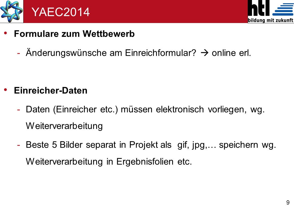 YAEC2014 Formulare zum Wettbewerb
