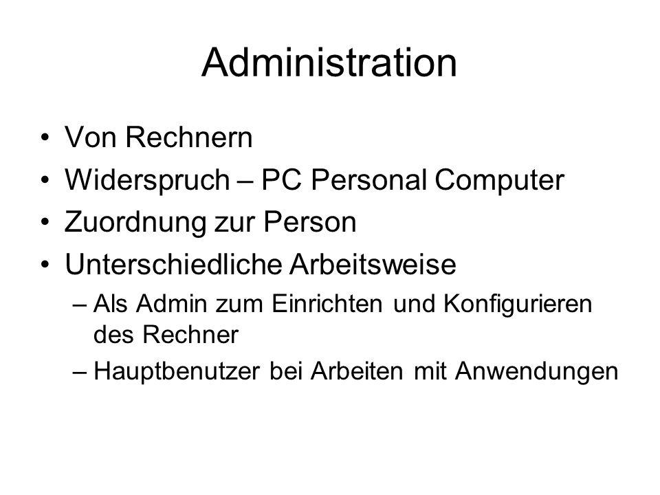 Administration Von Rechnern Widerspruch – PC Personal Computer