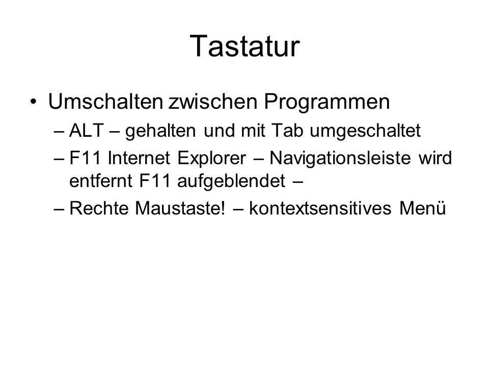 Tastatur Umschalten zwischen Programmen