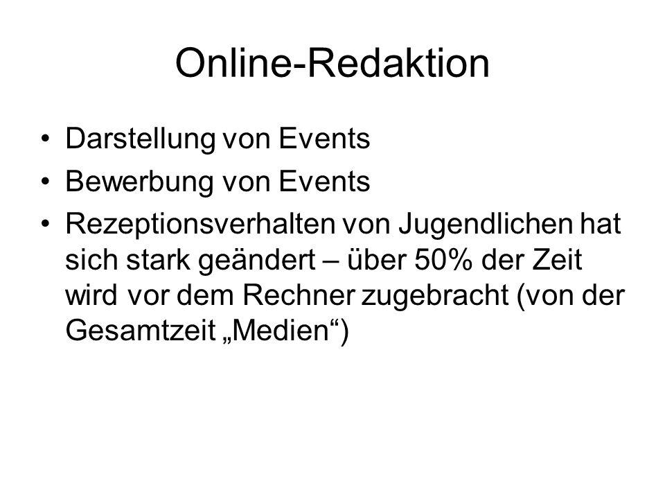 Online-Redaktion Darstellung von Events Bewerbung von Events