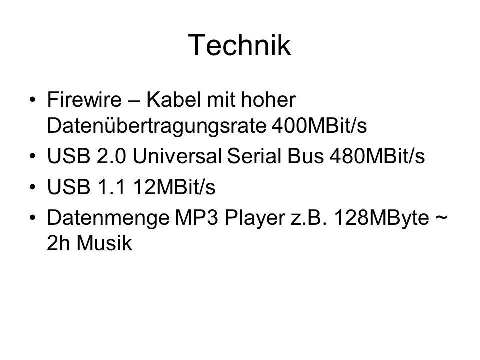 Technik Firewire – Kabel mit hoher Datenübertragungsrate 400MBit/s