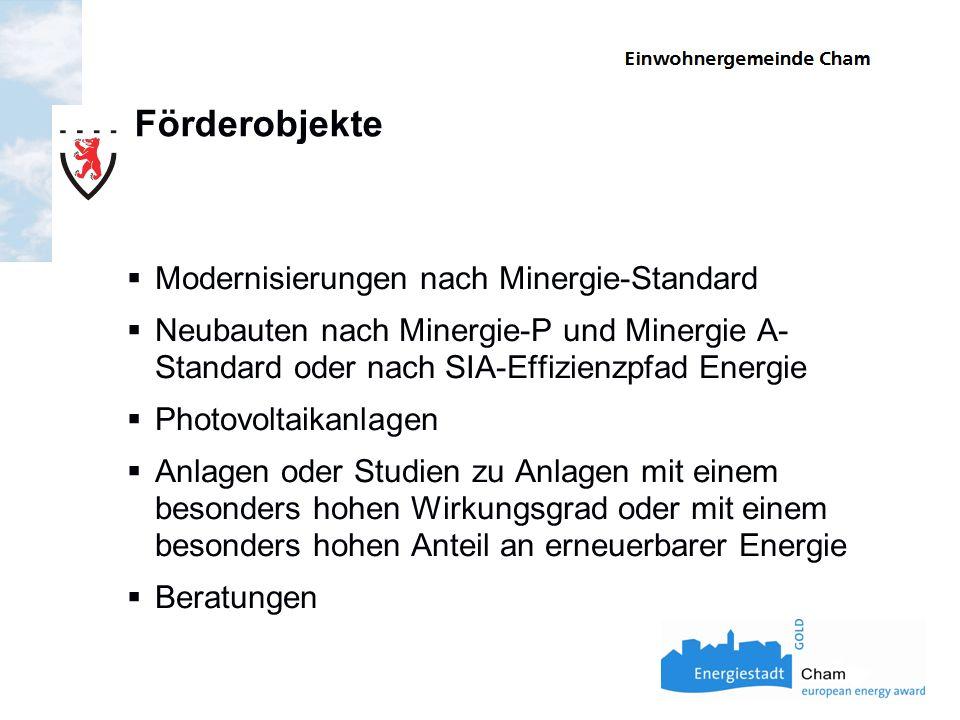 Förderobjekte Modernisierungen nach Minergie-Standard