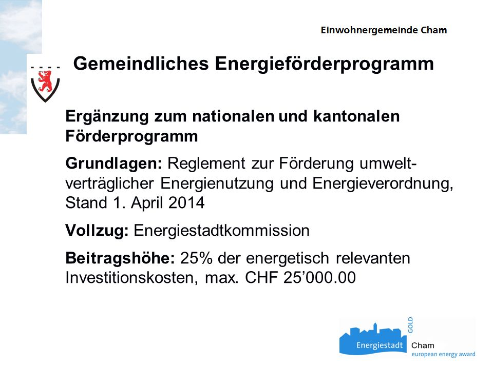Gemeindliches Energieförderprogramm