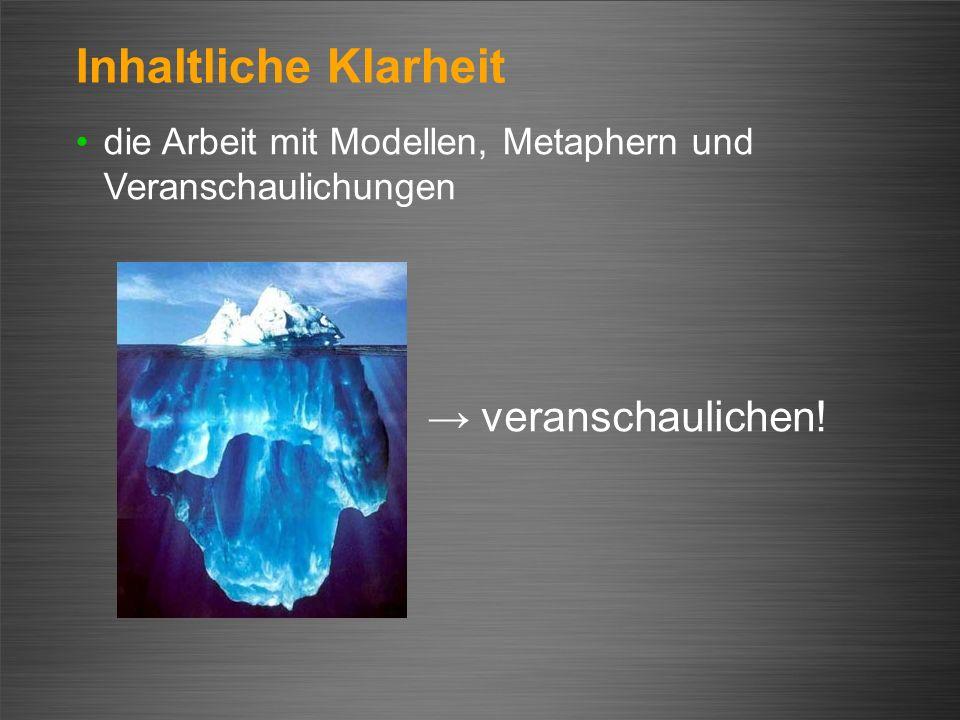 Inhaltliche Klarheit → veranschaulichen!