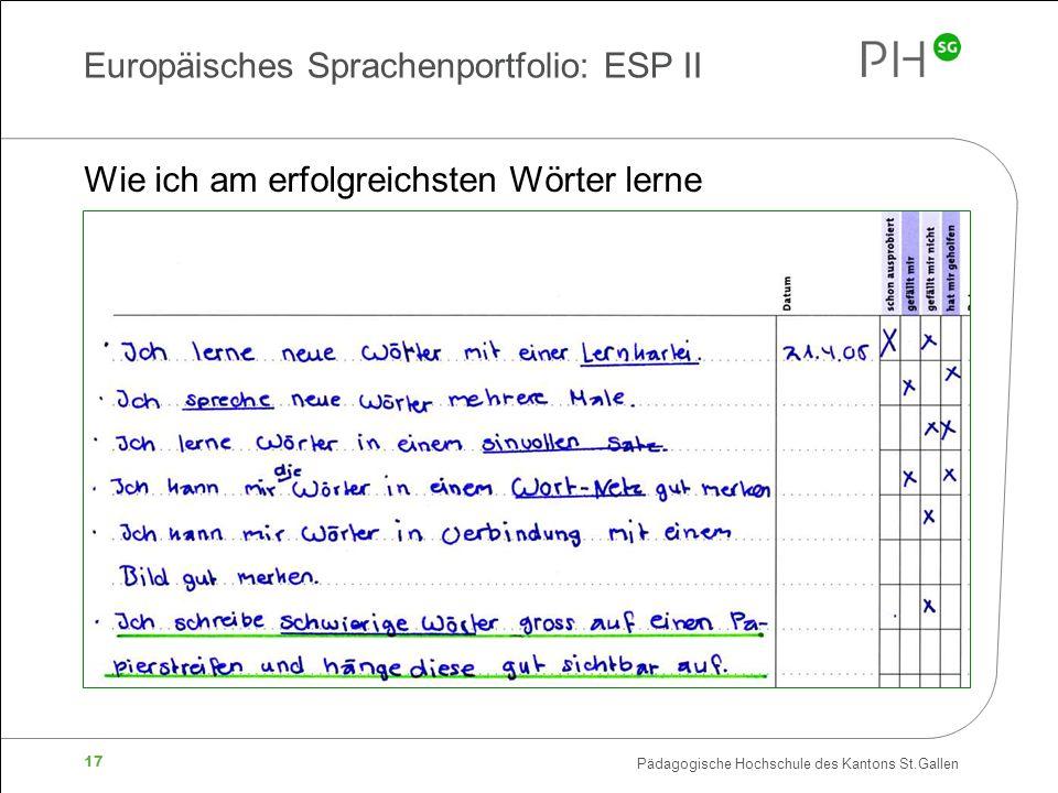 Europäisches Sprachenportfolio: ESP II