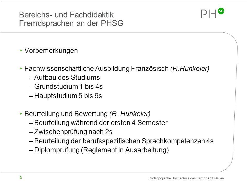 Bereichs- und Fachdidaktik Fremdsprachen an der PHSG