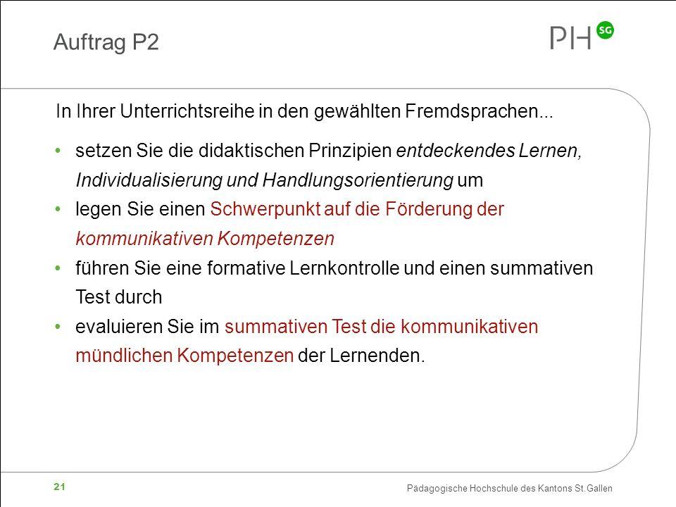 Auftrag P2 In Ihrer Unterrichtsreihe in den gewählten Fremdsprachen...
