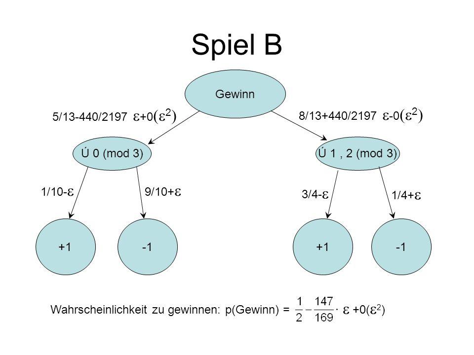 Spiel B Gewinn 5/13-440/2197 e+0(e2) 8/13+440/2197 e-0(e2) Ú 0 (mod 3)