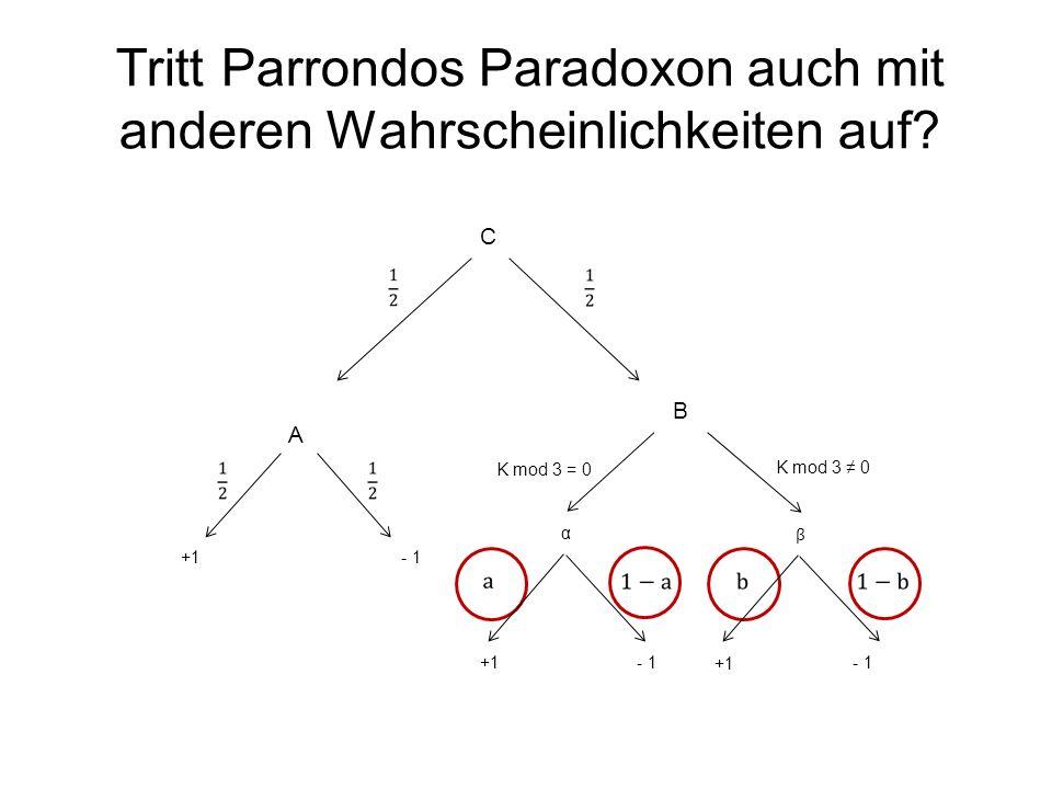 Tritt Parrondos Paradoxon auch mit anderen Wahrscheinlichkeiten auf