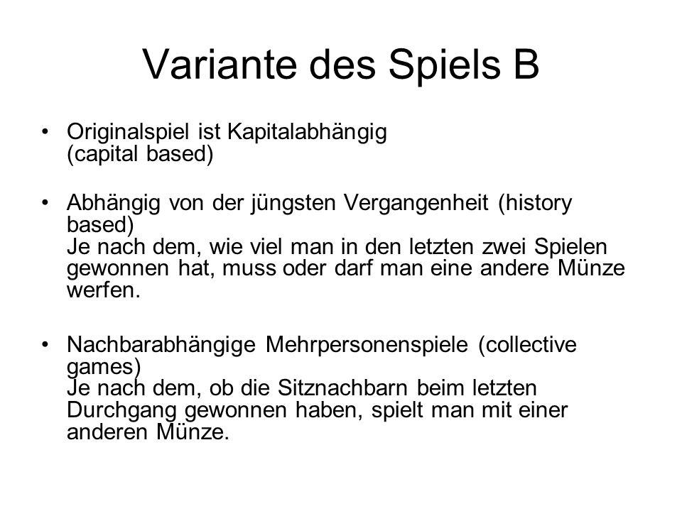 Variante des Spiels B Originalspiel ist Kapitalabhängig (capital based)