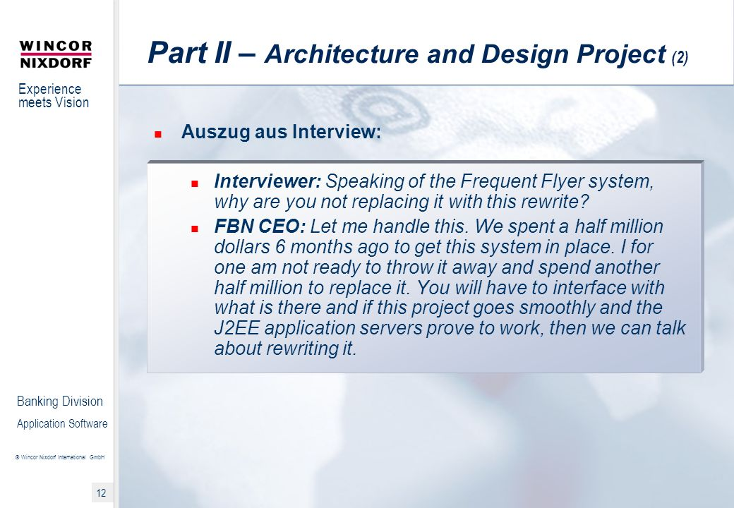 Part II – Architecture and Design Project (2)
